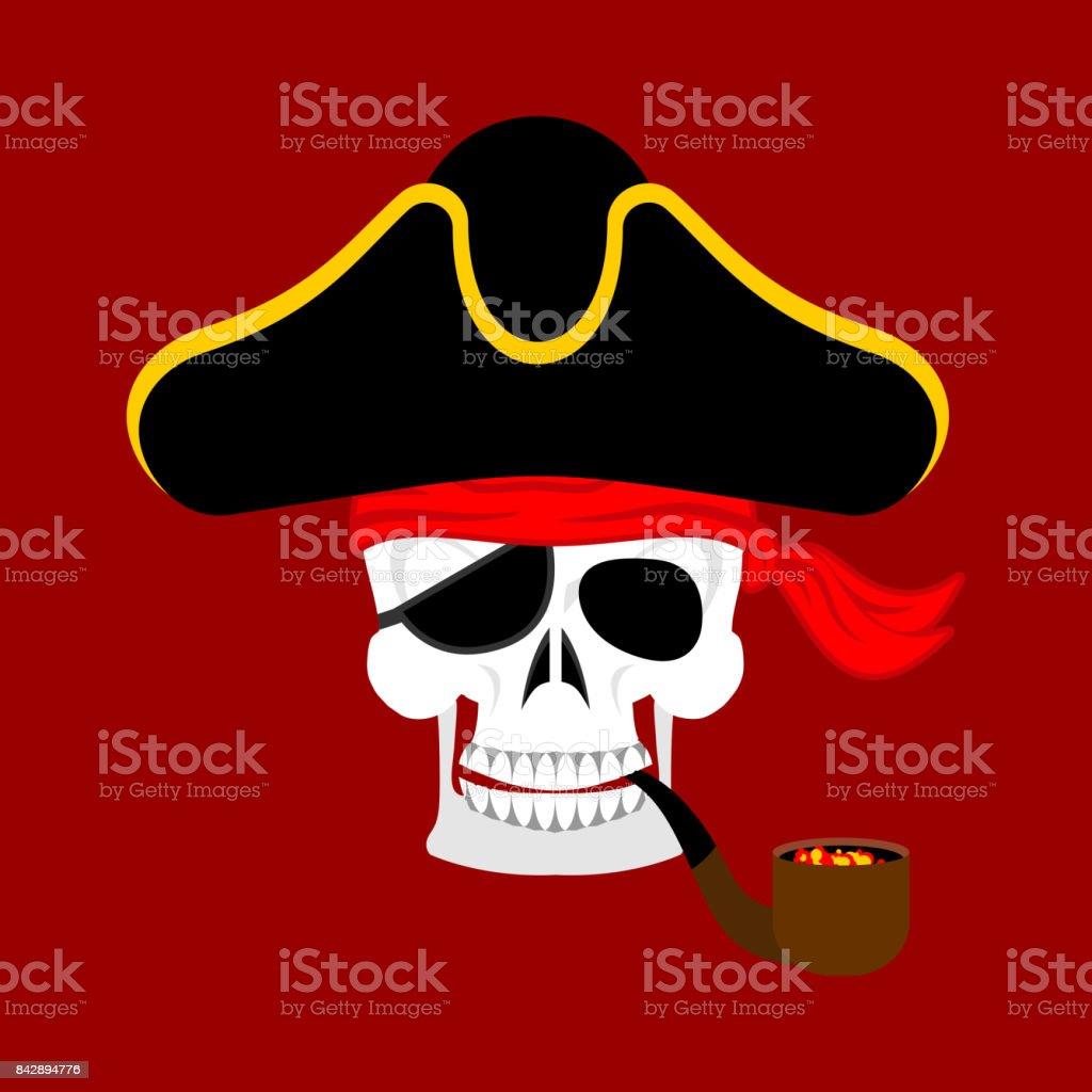 Ilustración de Retrato De Ppirate De Calavera Con Sombrero Parche En ...