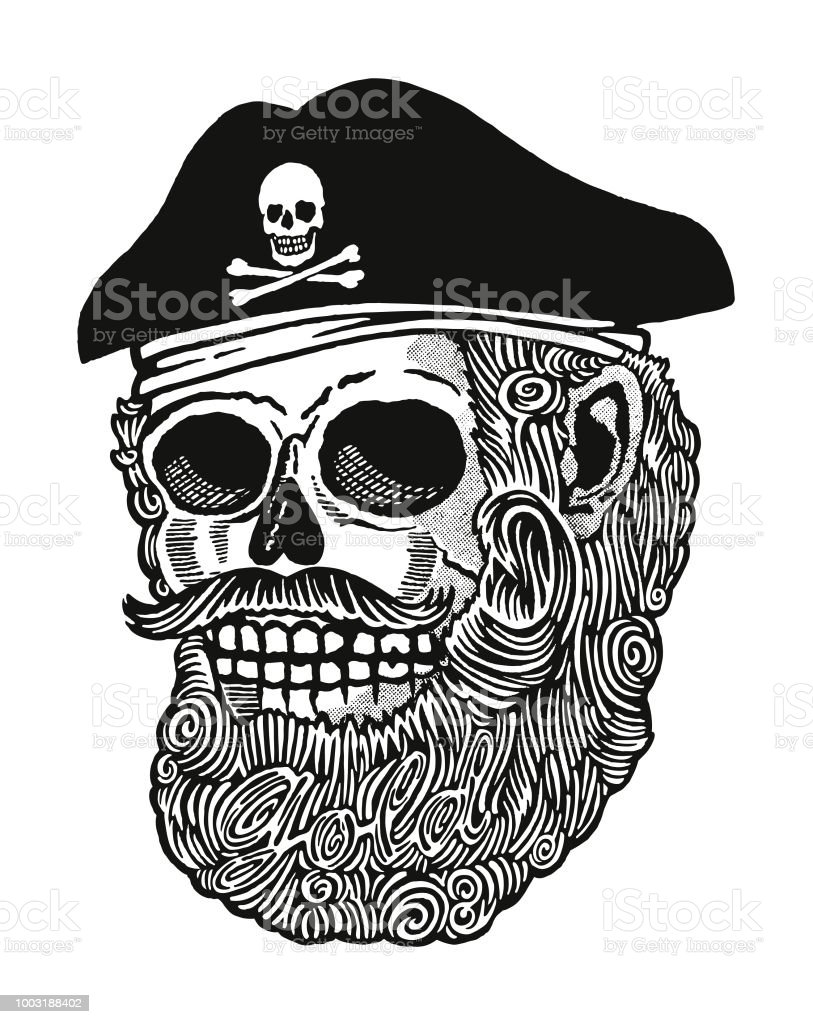 Skull Pirate With Curly Beard Royalty Free Stock Vector Art