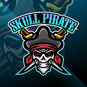 Illustration of Skull pirates mascot gaming logo design
