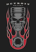 Skull piston with classic american flames