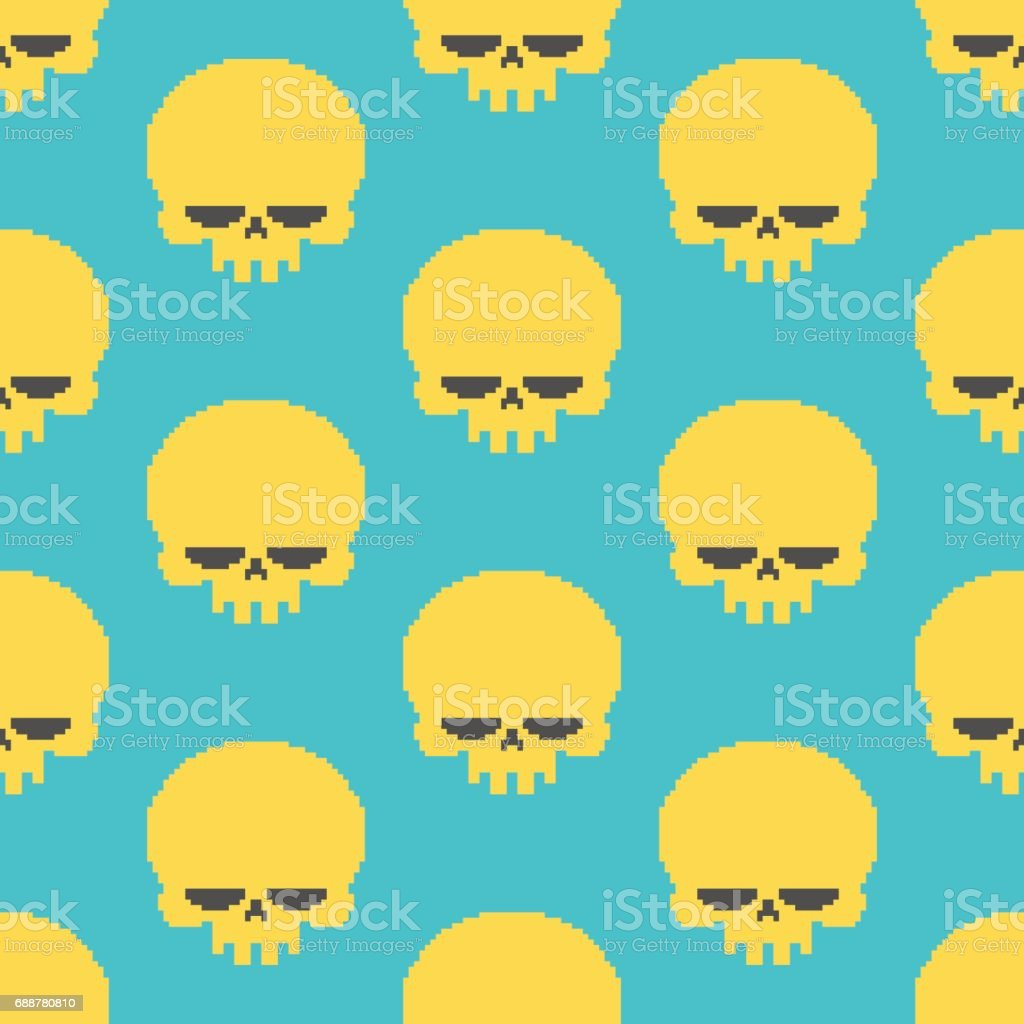 Skull Pixel Art Seamless Pattern Head Of Skeleton Pixelated