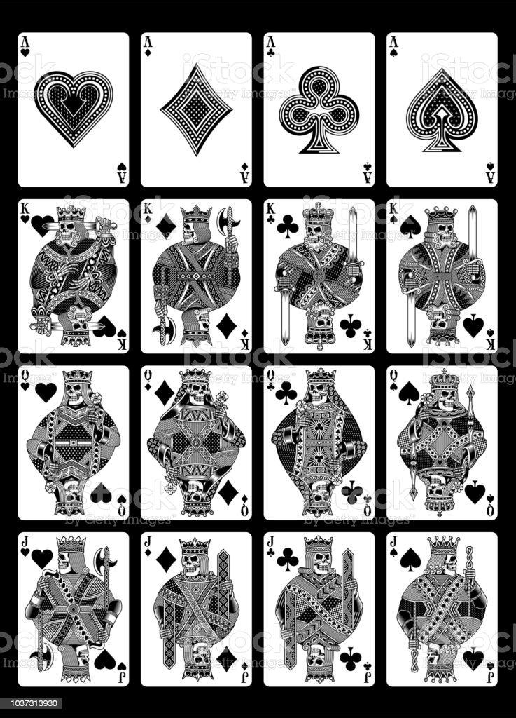 Jeu De Cartes à Jouer Du Crâne En Noir Et Blanc Vecteurs