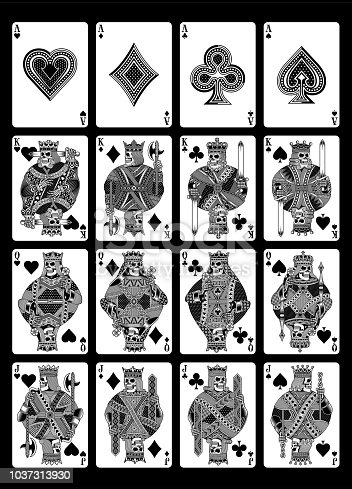 fully editable vector illustration of skull playing cards set in black and white, image suitable for playing cards design, graphic t-shirt or tattoo