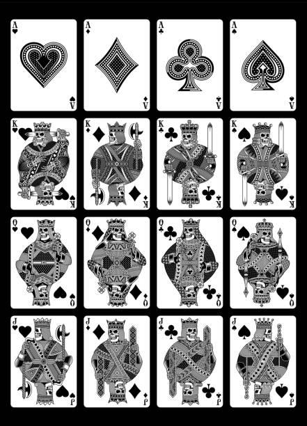 schädel-spielkarten-set in schwarz / weiß - kartenspielen stock-grafiken, -clipart, -cartoons und -symbole