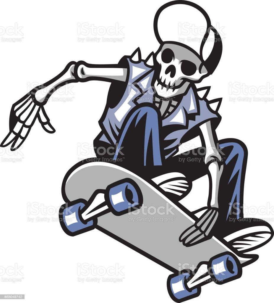 skull punk ride a skateboard vector art illustration