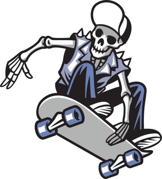 ilustrações, clipart, desenhos animados e ícones de punk de crânio andar de skate - andar de skate