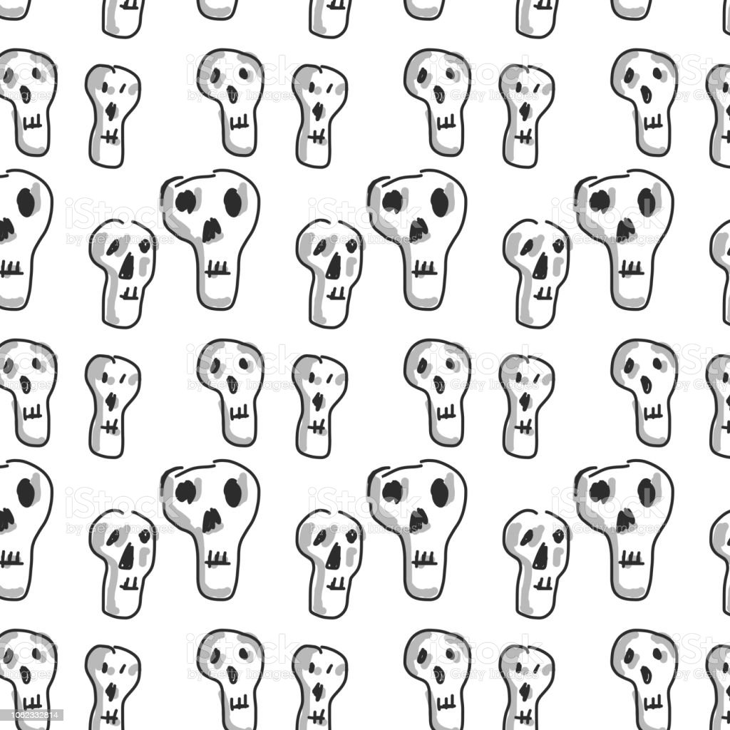 Skull Repeating Pattern vector art illustration
