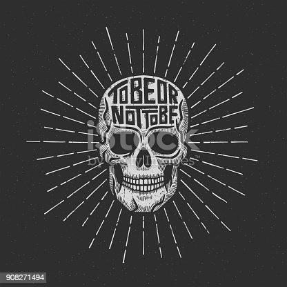 Skull retro lettering