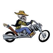 skull ride a big motorcycle