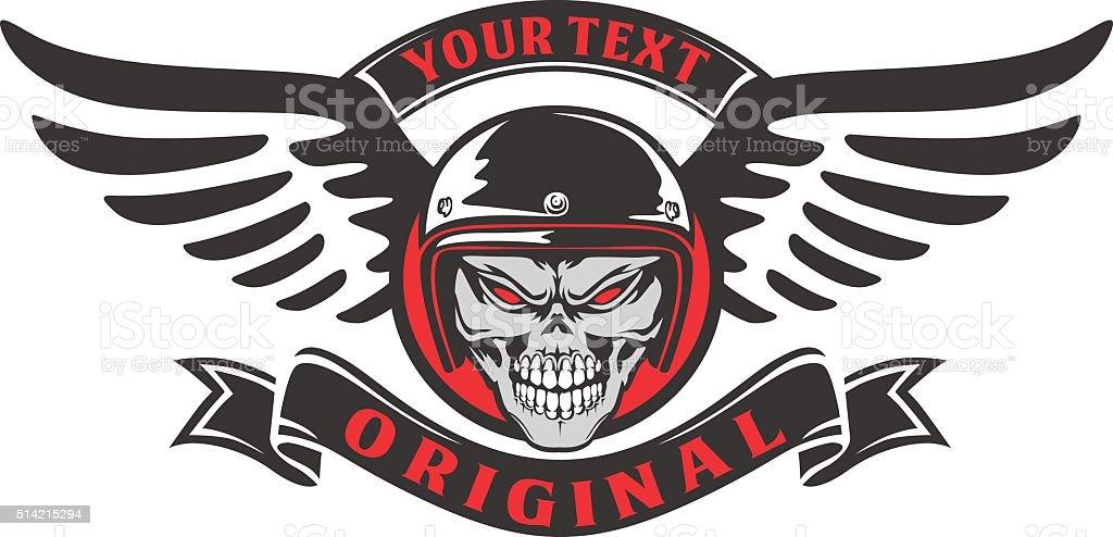 skull rider wings vector art illustration