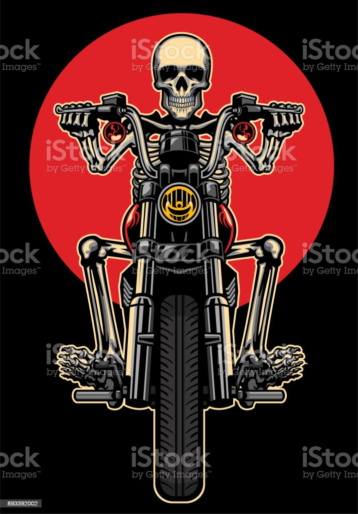 skull riding motorcycle vector art illustration