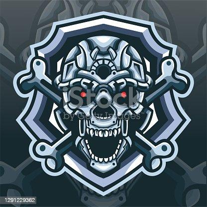istock Skull robot mascot. esport logo design 1291229362