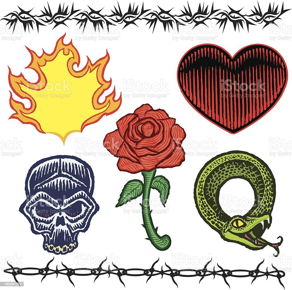 Cráneo y rosas, corazón, Snake, alambradas, llama tatuaje diseños ilustración de cráneo y rosas corazón snake alambradas llama tatuaje diseños y más banco de imágenes de alambre de espino libre de derechos