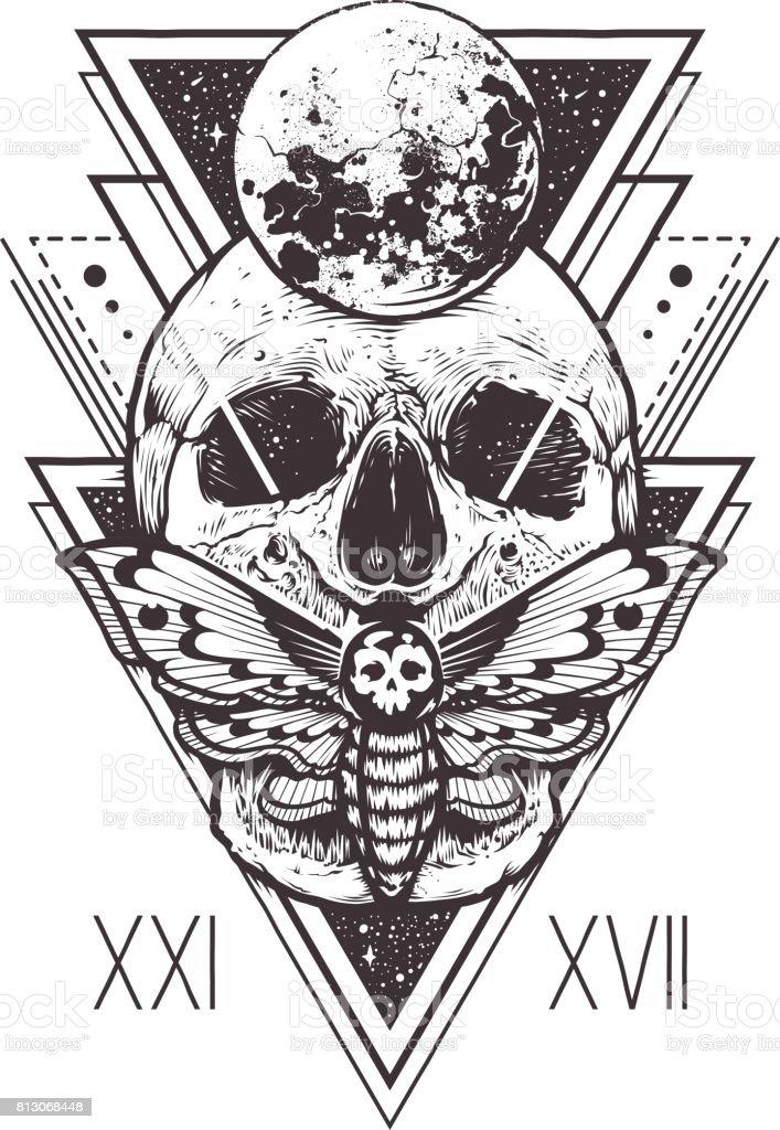 Calavera de geometría sagrada - ilustración de arte vectorial
