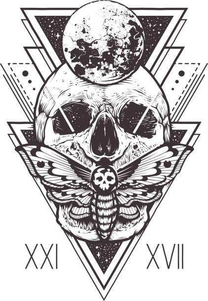ilustraciones, imágenes clip art, dibujos animados e iconos de stock de calavera de geometría sagrada - tatuajes de luna