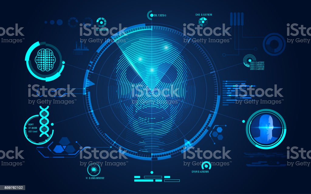 Skull Scan vector art illustration