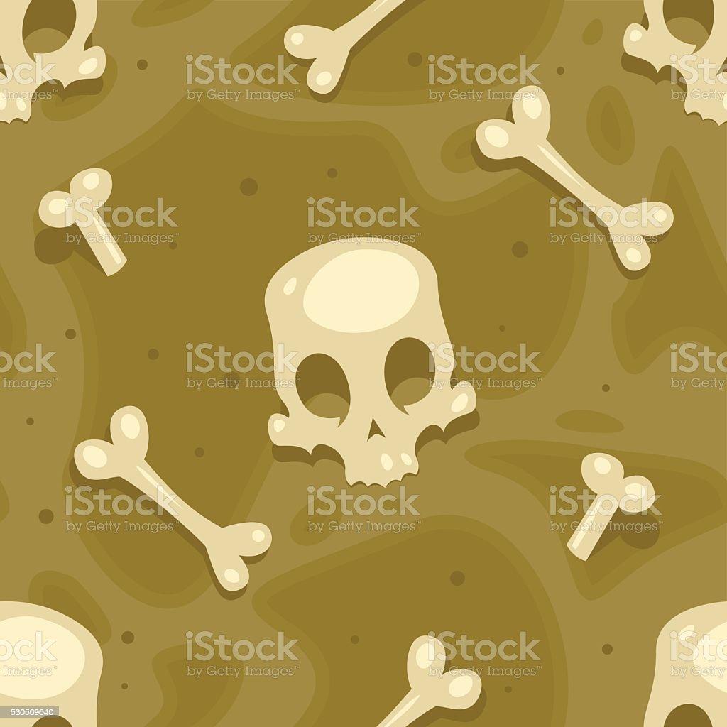 Skull Seamless Vector Pattern Design - Field of Bones vector art illustration