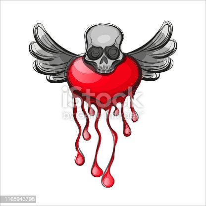 Valentine s Day greeting card. Skull shape from red hearts. Vector illustration