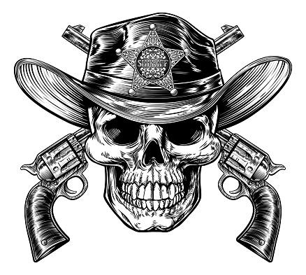 Skull Sheriff And Pistol Hand Guns