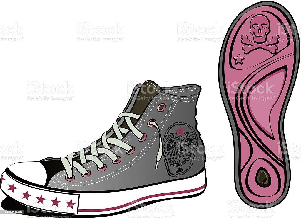 skull shoe vector art illustration
