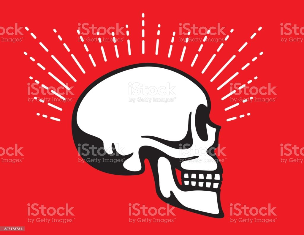 Skull Side View with Halo Glow Line graphic effect vector art illustration