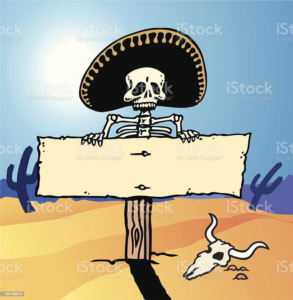 Skull Sign vector art illustration