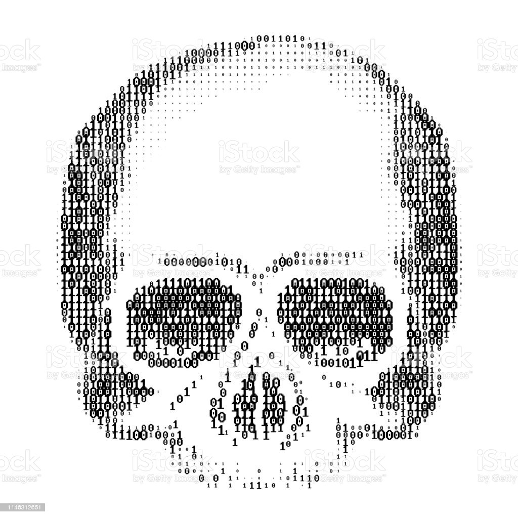Skull Silhouette From Numbers 0 And 1 Ascii Art Computer