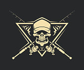 Skull silhouette in cap with crossed fishing rods and hooks on background - stylized cut out vector emblem