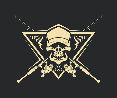 Skull silhouette in cap with crossed fishing rods and hooks on background - cut out vector emblem