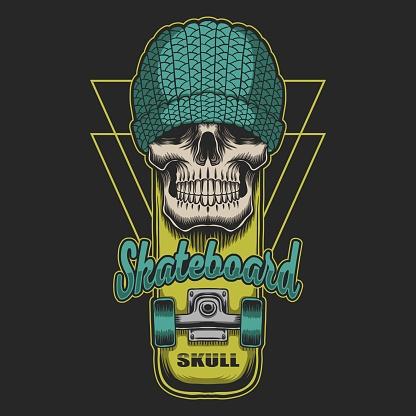Skull skateboard vector illustration