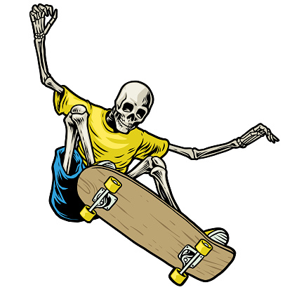 Skull skateboarder jumping in action