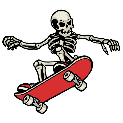 skull skateboarding do the ollie trick