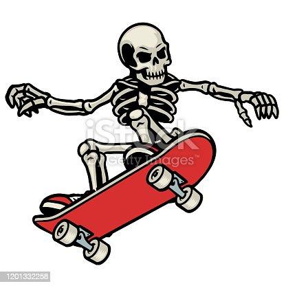 vector of skull skateboarding do the ollie trick