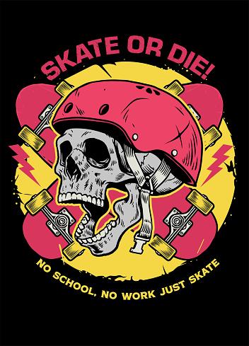 skull skater tshirt design