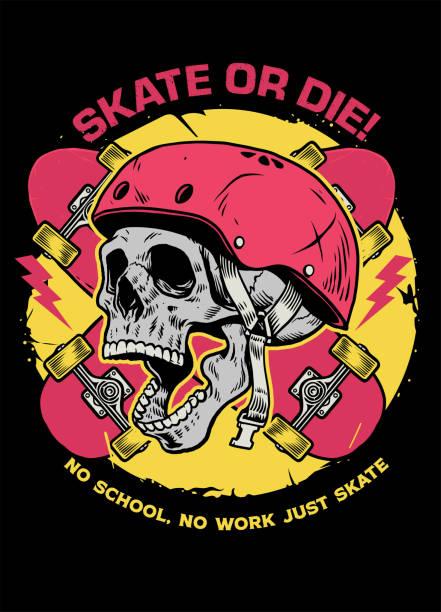 skull skater tshirt design vector of skull skater tshirt design skate stock illustrations