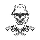 Skull smoking cigar in panama hat with crossed pistols in vintage monochrome style isolated vector illustration