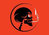 vector illustration of skull smoking symbol