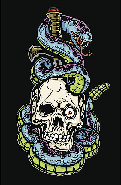 skull snake and dagger tattoo color - snakes tattoos stock illustrations, clip art, cartoons, & icons