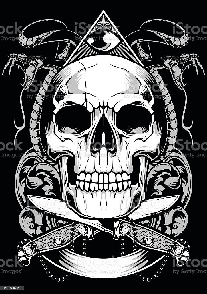 Skull Snake Vector Design vector art illustration