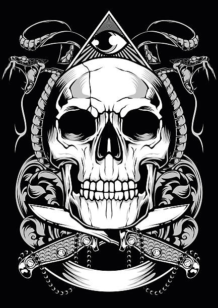 skull snake vector design - snakes tattoos stock illustrations, clip art, cartoons, & icons