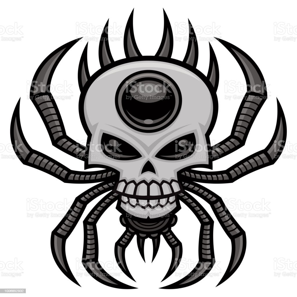 Skull Spider vector art illustration