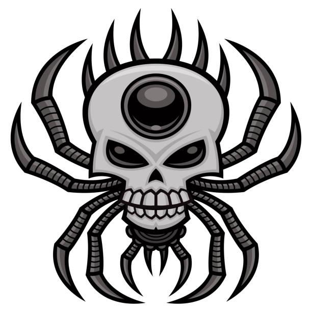 Skull Spider vector art illustration