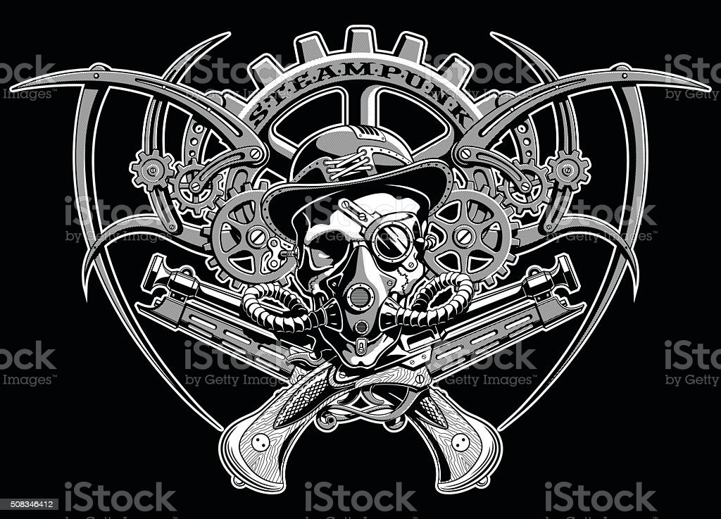 skull steampunk gears in a hat with glasses vector illustration vector art illustration