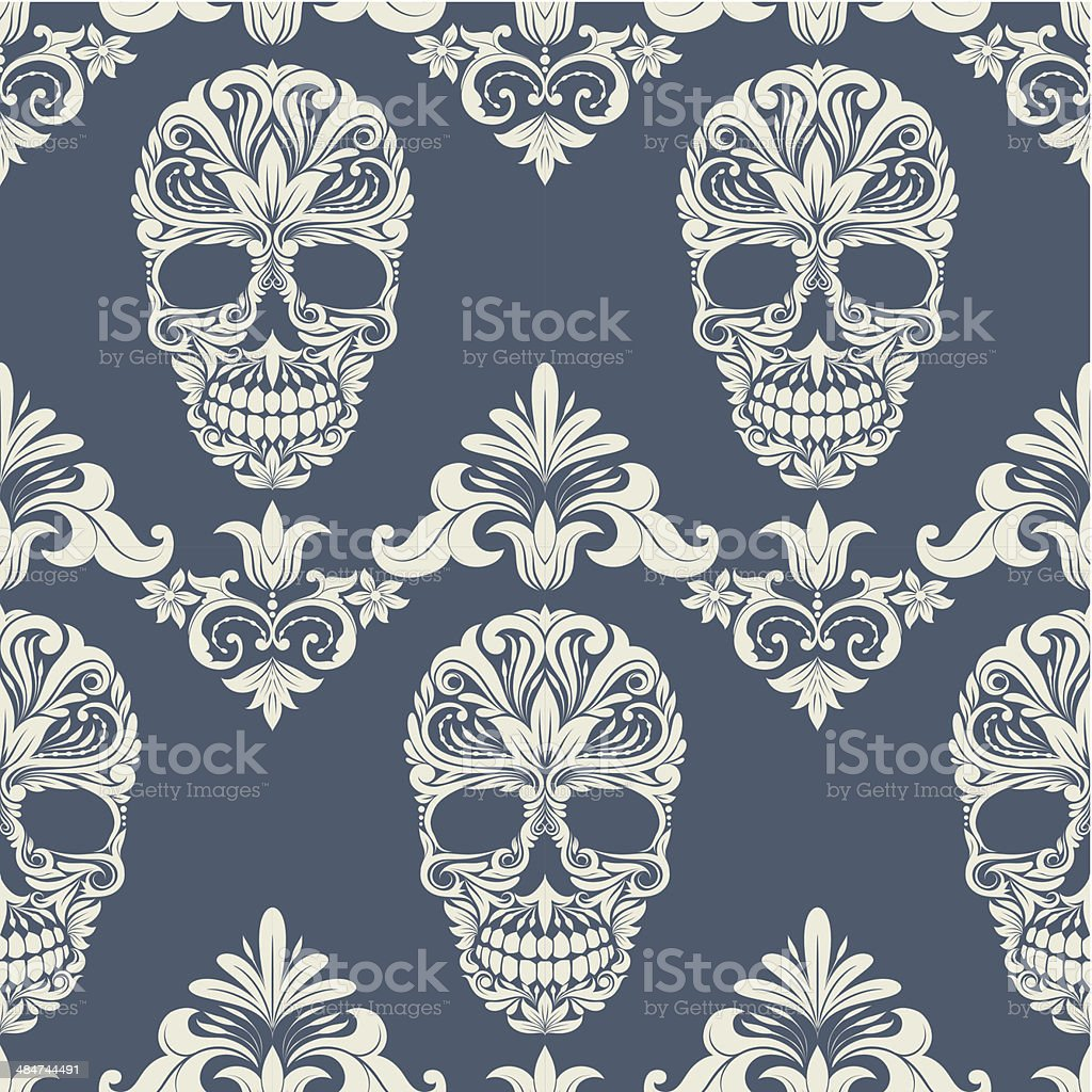 Skull Swirl Decorative Pattern vector art illustration