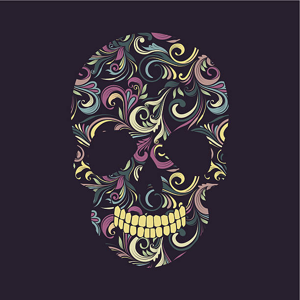 Skull Swirl Ornamental vector art illustration