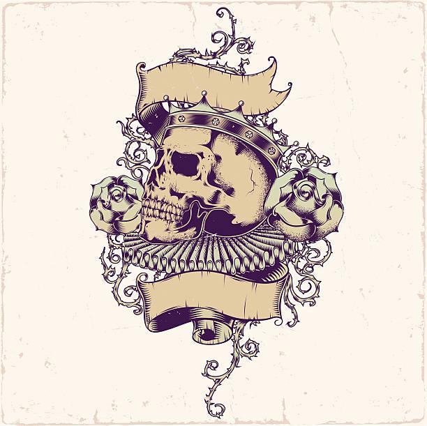 Skull tattoo design vector art illustration
