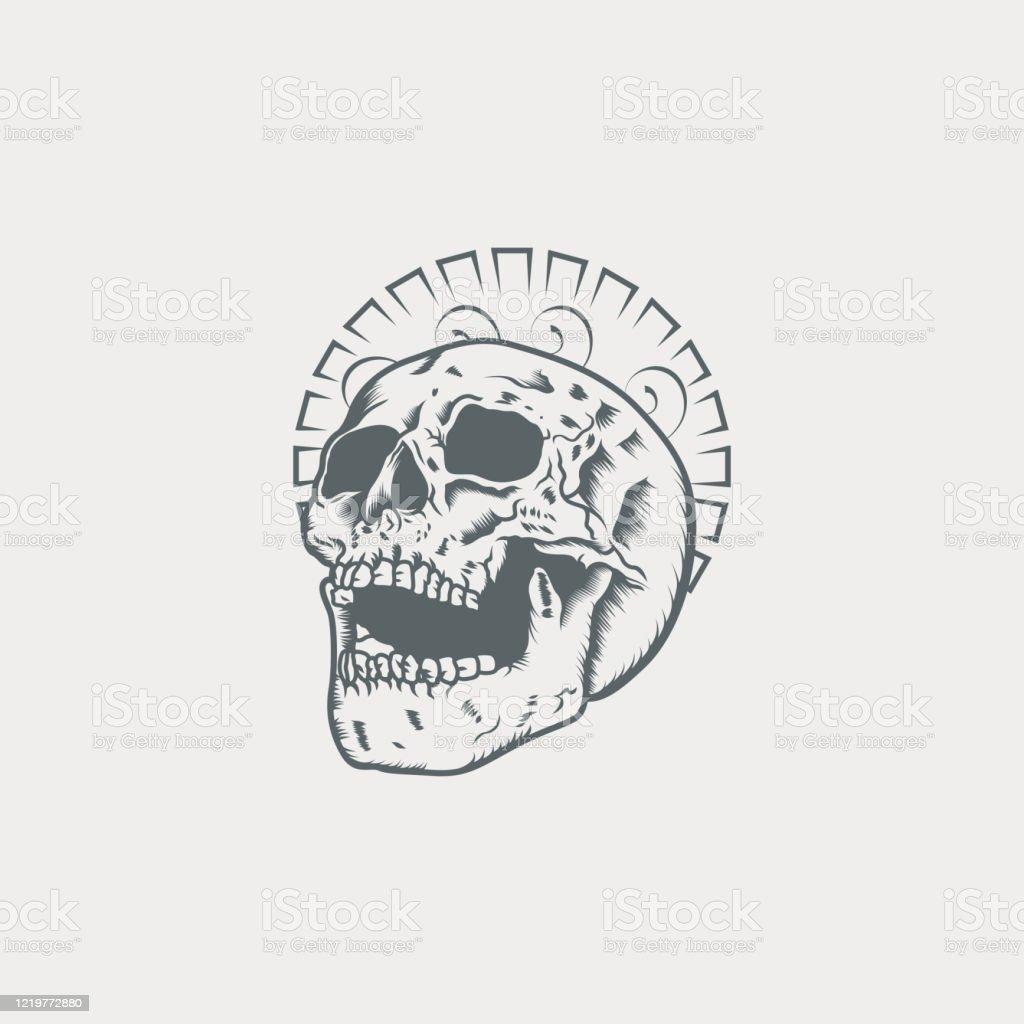 Skull Tattoo Outline Artwork Illustration Stock Illustration Download Image Now Istock