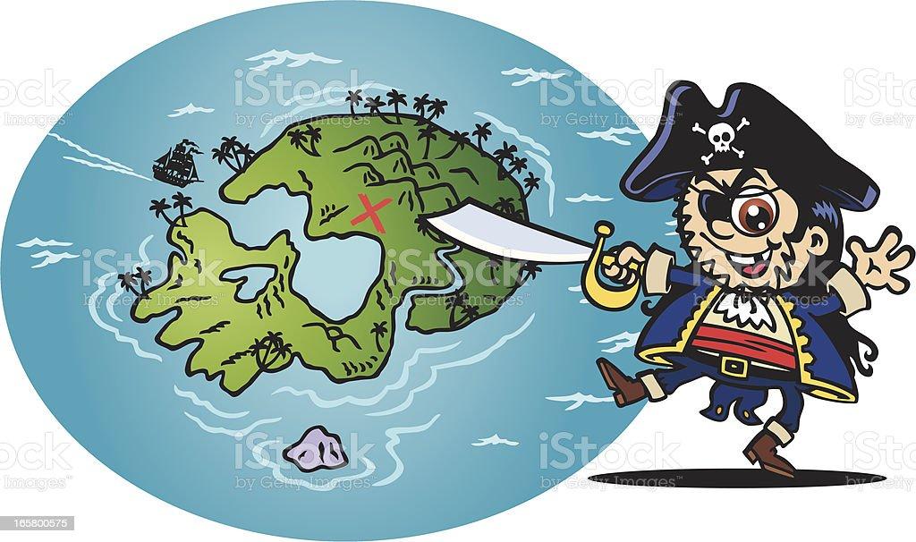 Skull Treasure Map vector art illustration