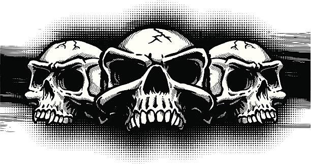 Skull Trio B&W II vector art illustration