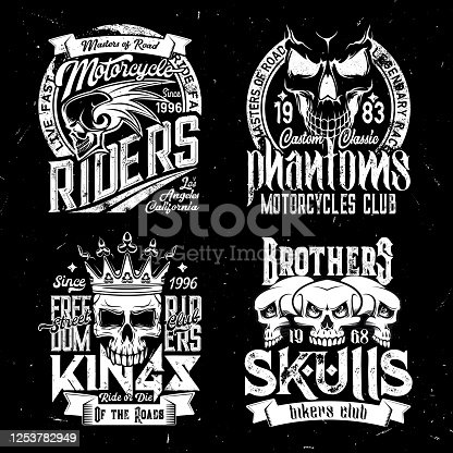 istock Skull t-shirt print mockup, racing sport club 1253782949